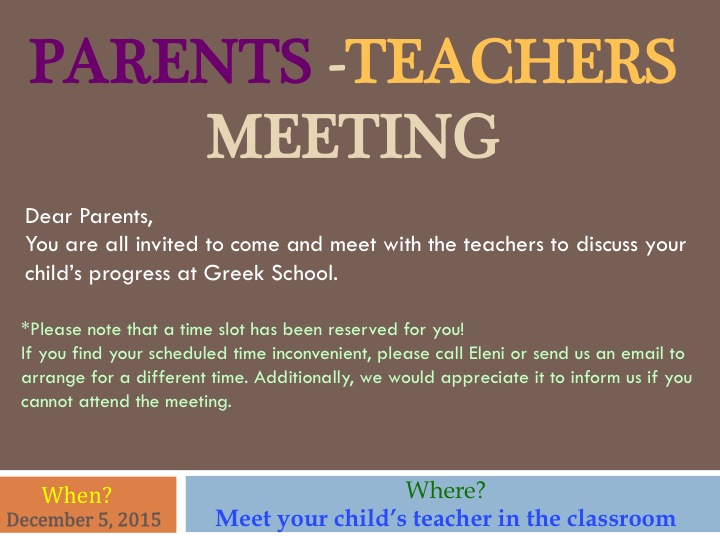 Parent teacher meeting coventry greek school parent teacher meeting altavistaventures Images